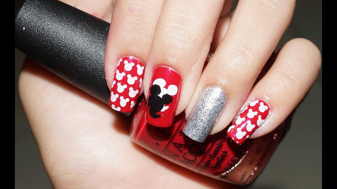 mickey mouse nails tutorial stamping