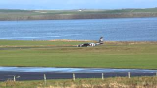 Loganair Islander, landing Kirkwall Airport Runway 27, Orkney Islands, HD and full screen pls.