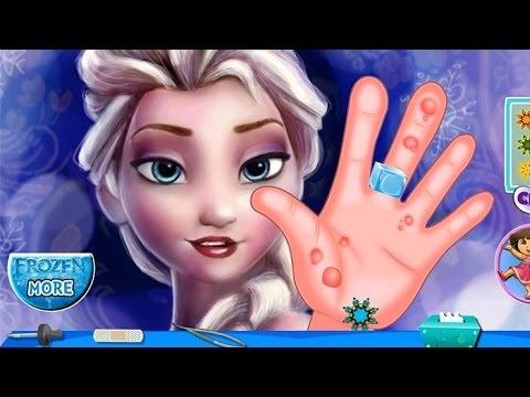 NEW Игры для детей—Disney Эльза руки Холодное сердце—Мультик Онлайн видео игры для девочек