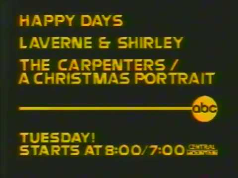 Carpenters Christmas Portrait.Happy Days Laverne Shirley The Carpenters A Christmas Portrait 1978 Abc Promo