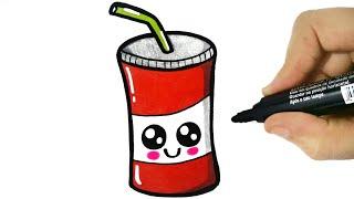 HOW TO DRAW A CUTE SODA - COMO DESENHAR UM REFRIGERANTE KAWAII