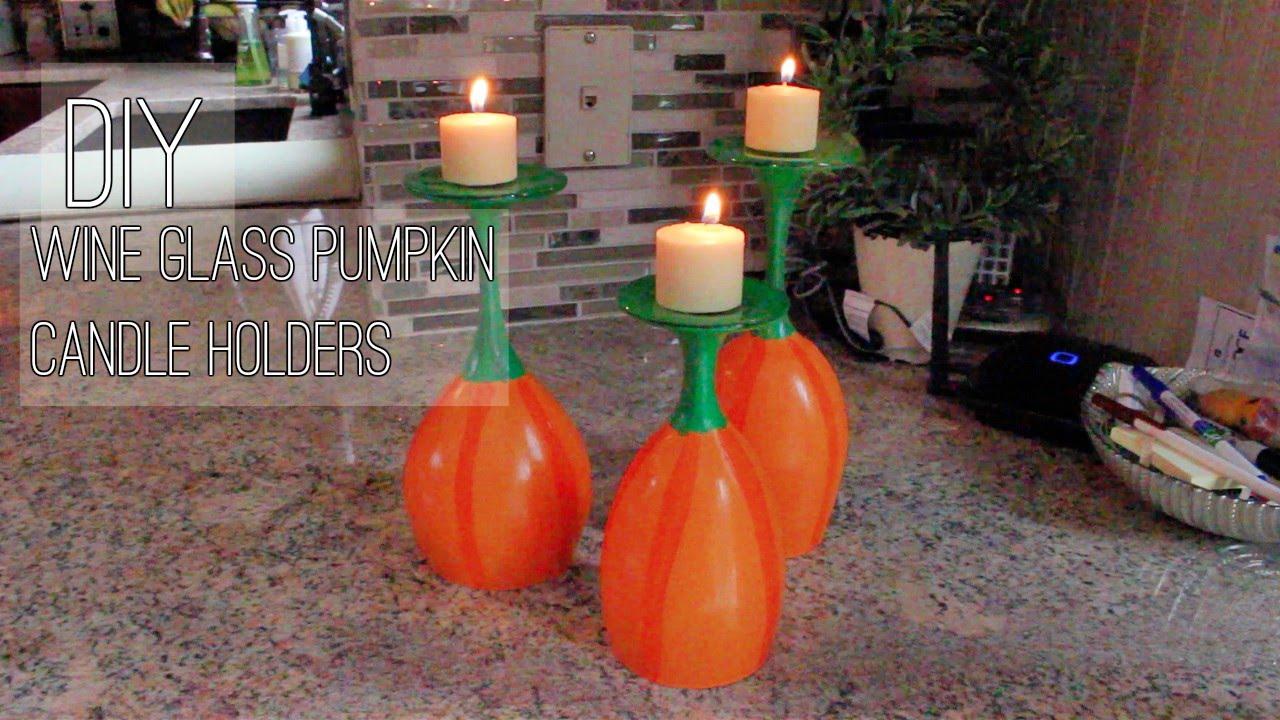 Diy Pumpkin Wine Glass Candle Holders Youtube