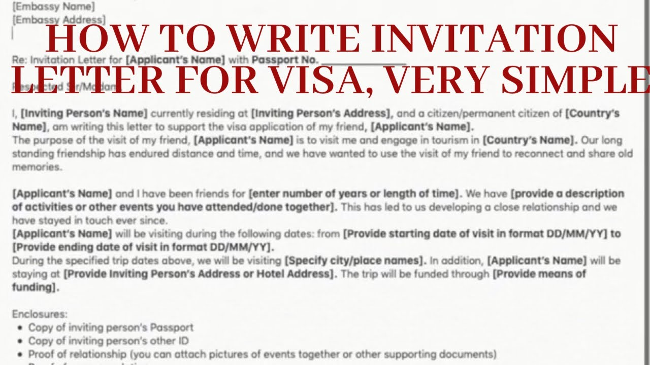 how to write an invitation letter for schengen visa application 2019 with link to letter template