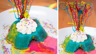 Rainbow Lava Cake Recipe (White Chocolate Lava Cake) from Cookies Cupcakes and Cardio