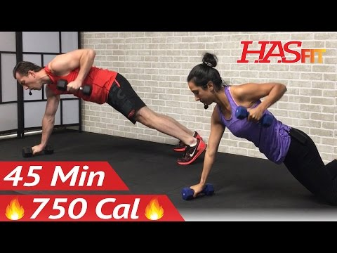 45 Min HIIT Strength and Cardio Workout at Home Cardio and Strength Training Workouts with Weights