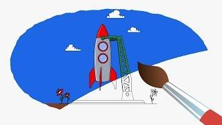 Космос Белка и Стрелка Мультик Раскраска Учим Цвета с Озорной семейкой
