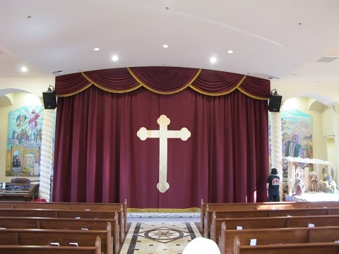 Church altar curtains with cross appliqué. Church stage curtains and swag valance