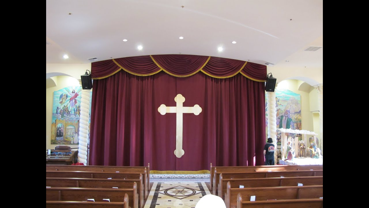 Church altar curtains with cross appliqué. Church stage curtains and ...