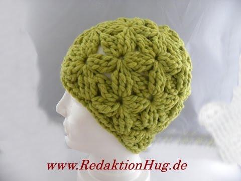 Häkeln - Mütze im Blütenmuster - Veronika Hug - YouTube