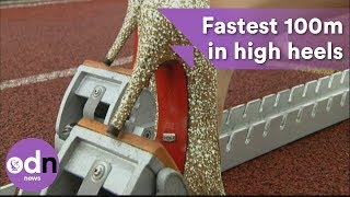 Fastest 100m in high heels in Guinness World Record attempt thumbnail