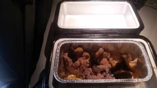 Pork Stew Meat and Shiitake Mushrooms in the RoadPro Portable Stove