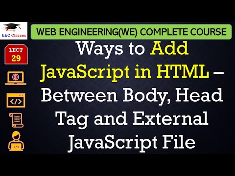 JavaScript Lecture 2 - Add JavaScript in HTML – Between Body, Head Tag and External JavaScript File