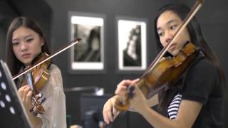 "Can you play like this ?  ""Canon in D violin duet Tiffany"""