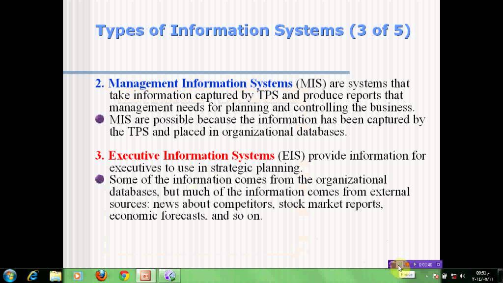 different type of information system Information system is a system that handles the flow and maintenance of information, which supports the business operation the components of information systems are people, equipment, procedures and data.