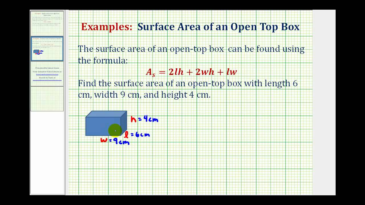 Ex: Find The Surface Area Of An Open Top Box