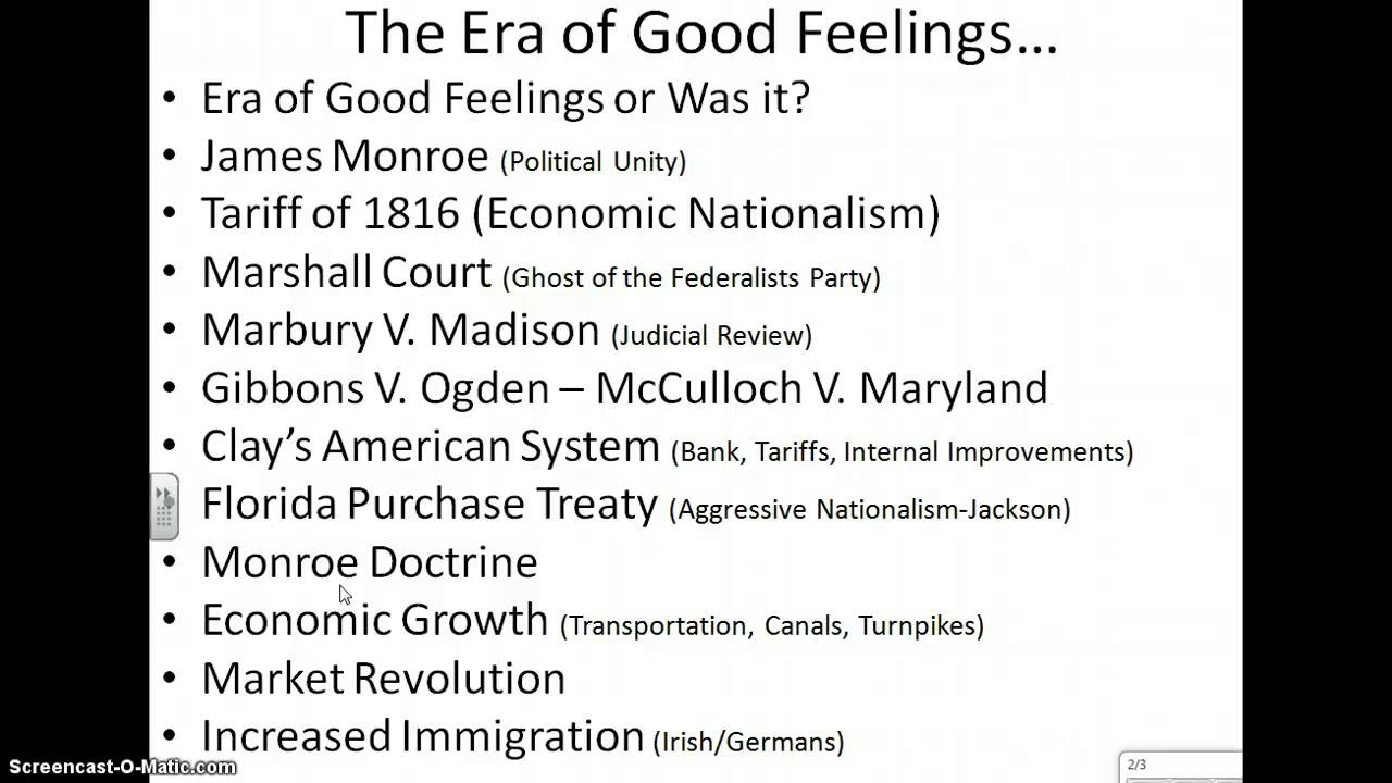 "era of good feelings dbq essay Ap® united states history 2011 scoring guidelines • ""era of good feelings"" this essay contains a thesis that sidesteps the question of to what extent."