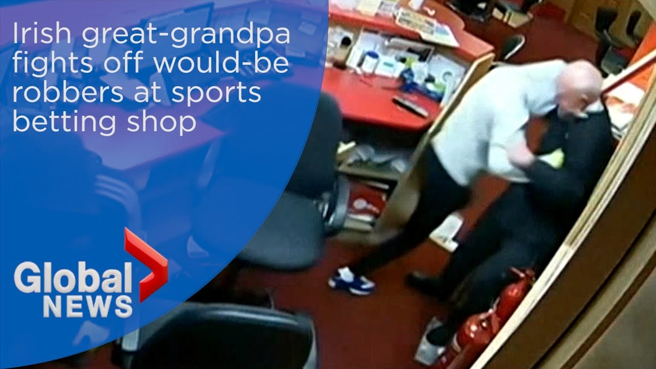 Irish great-grandfather fights off robbers after they barge into betting shop