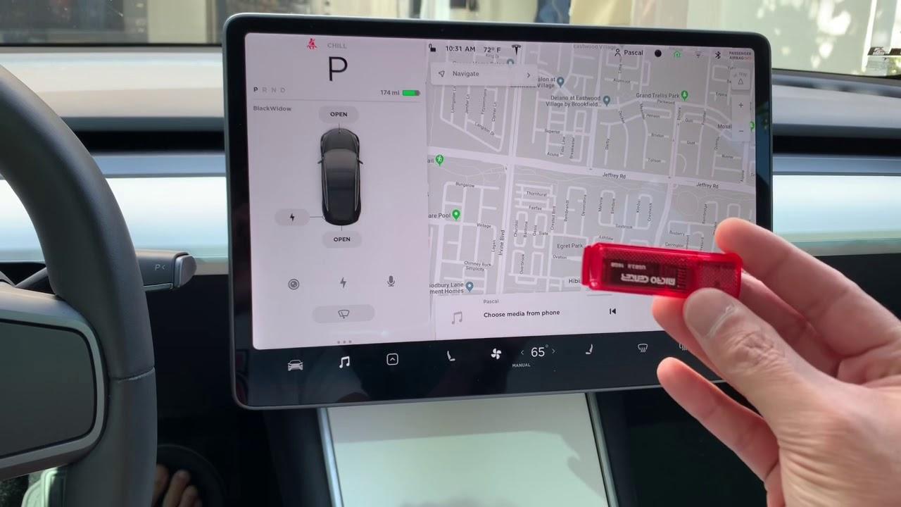 Tesla 3 Experiment. 15. Dash cam Memory Stick with USB ...