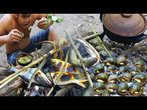 Cooking Snail N Fish Eat With Chili Sauce - Cook Jusmine Rice Eat With Snail N Fish Bbq