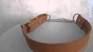 Adjustable Half Check Leather Dog Collar, Agility , Dog Show , Dogs, Dog Agility