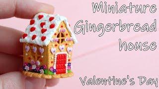 Miniature Gingerbread house. Valentine's Day. Tutorial. DIY. Polymer clay. Пряничный домик