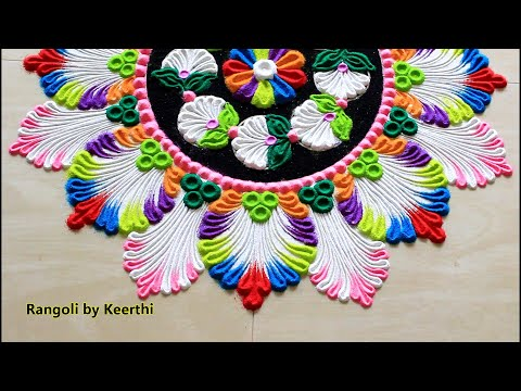 Multicolour Rangoli Kolam 2020 L Rangoli Designs For New Year L New Year Rangoli 2020 L Muggulu
