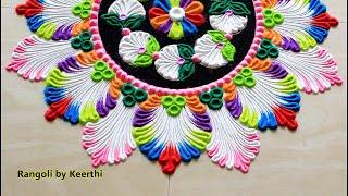 Multicolour rangoli kolam 2020 l rangoli designs for new year l new year rangoli 2020 l muggulu