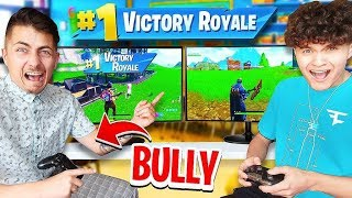 Little Brother DESTROYS School Bully in Fortnite 1v1