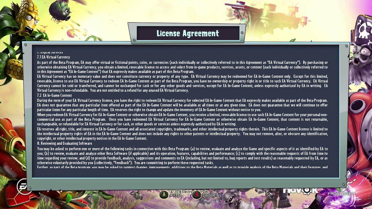 License Agreement Pvz Gw2 Beta Youtube