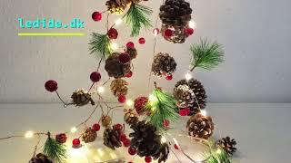 Julelyskæde med pinjekogler, fyrretræs grene, bær og klokker - Til julepynt