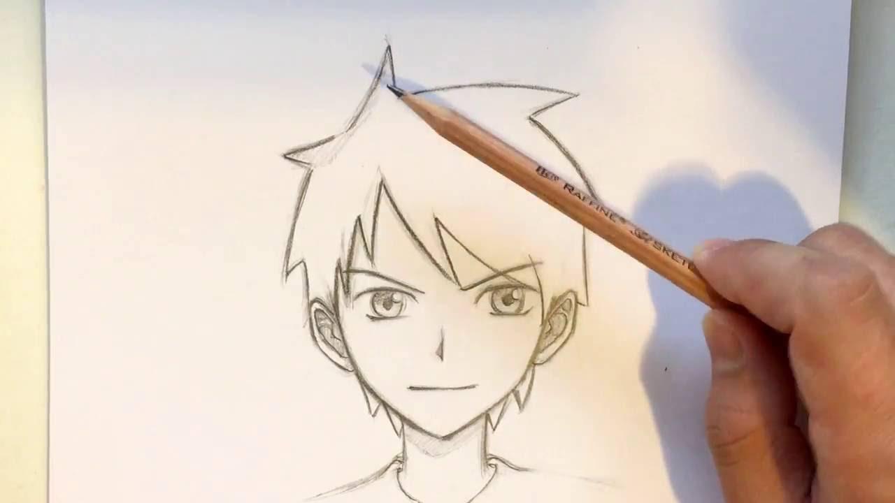 draw anime boy hair slow