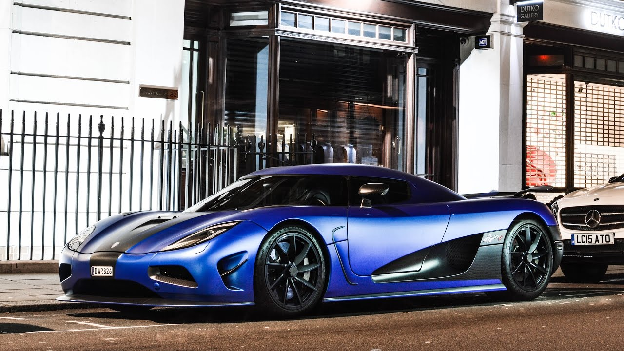 Matte Blue Koenigsegg Agera R start up, accelerations and ...
