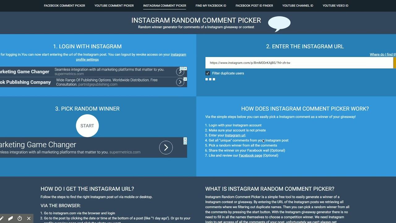 Instagram Random Comment Picker for Instagram comments
