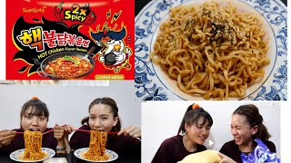 super spicy Korean  ramen noodlechallenge2x super spicy noodles challenge2 sister ramen challenge
