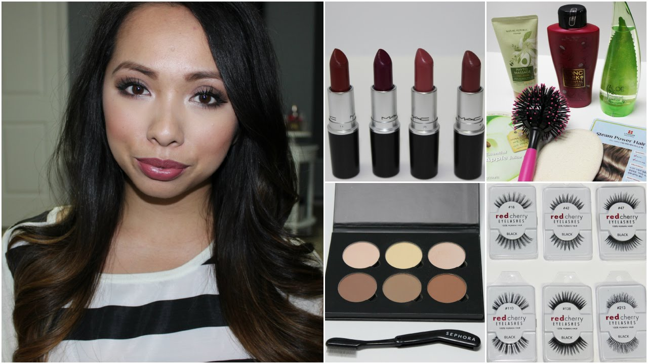Huge Beauty Haul Beauteque Red Cherry Lashes Nordstrom Sephora Mac