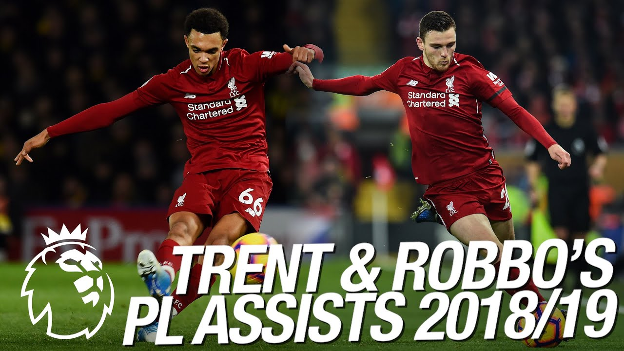 All of Trent Alexander-Arnold and Andy Robertson's 23 Premier League assists in 2018/19