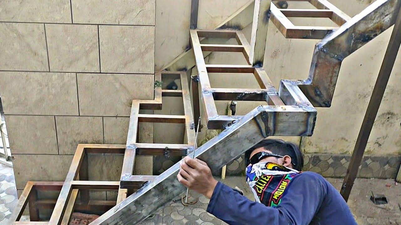 How to install iron stairs case fabrication work ideas