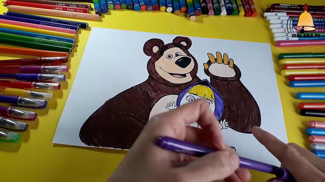 Maşa Ve Koca Ayı Iki Boyama Birden Masha And Bear Color Page