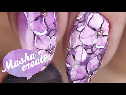 Маникюр гель лаком: Цветы ногтях Гортензии. Дизайн ногтей Цветы гель лаком. Рисунок гель лаком.