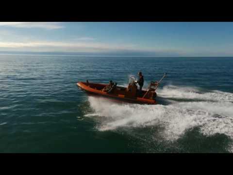 6m watercraft Diesel jet rib filmed with a bebop 2 drone follow me app drone footage