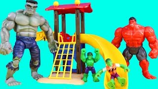 Baby Hulks Play At The Playground And Beat Up Imaginext Clay Face And Lex Luthor