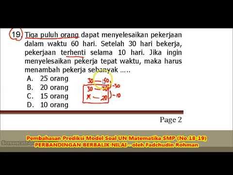 Soal Perbandingan Berbalik Nilai No 18 19 Pembahasan Soal Matematika Smp Mts Youtube