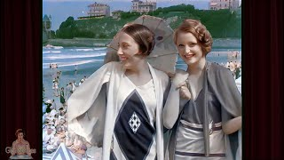 A Day at the Beach 1928 - Biarritz France 1920s   AI Enhanced [60 fps 4k]