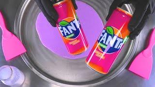 Pink Fanta Lemonade rolled Ice Cream - how to make pink fried Ice Cream Rolls   satisfying Food ASMR