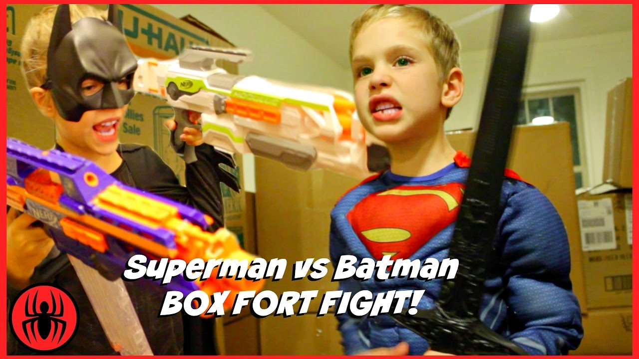 Superman vs Batman Box Fort Fight! kids nerf superhero real life movie SuperHeroKids - YouTube  sc 1 st  YouTube & Superman vs Batman Box Fort Fight! kids nerf superhero real life ...