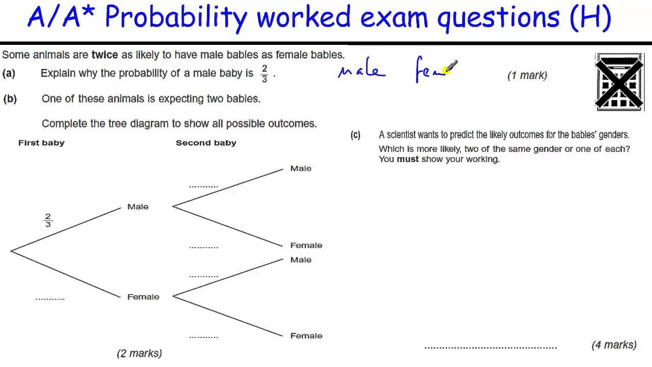 Probability GCSE Tree Diagrams Exam Questions with videos – Probability Tree Diagram Worksheet