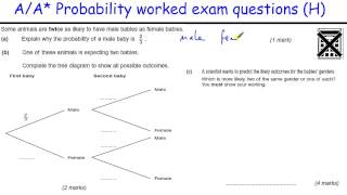 How to do Probability A/A* GCSE Maths revision Higher level worked exam (tree diagrams, conditional)