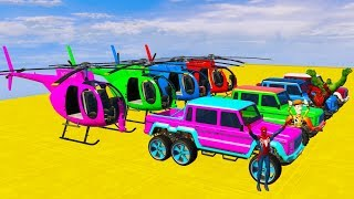 COLOR OFFROAD CARS Transportation and Superhero Fly on Helicopter 3D Animation Cartoon for Kids