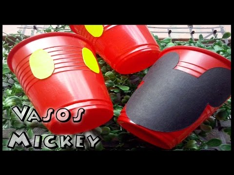DIY Idea divertida decoracion de vasos para fiesta tema mickey mouse