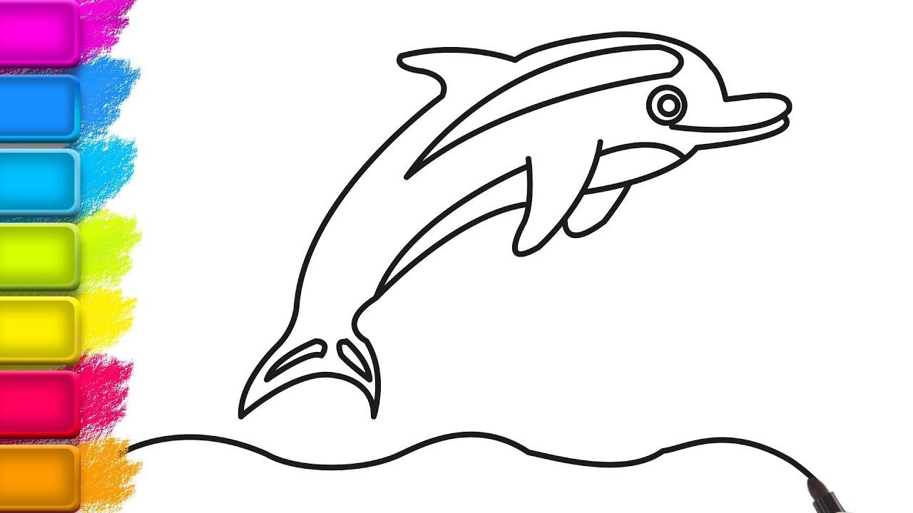 çocuklar Için çizim Yunus Balığı çizim Ve Boyama Resim Boyama
